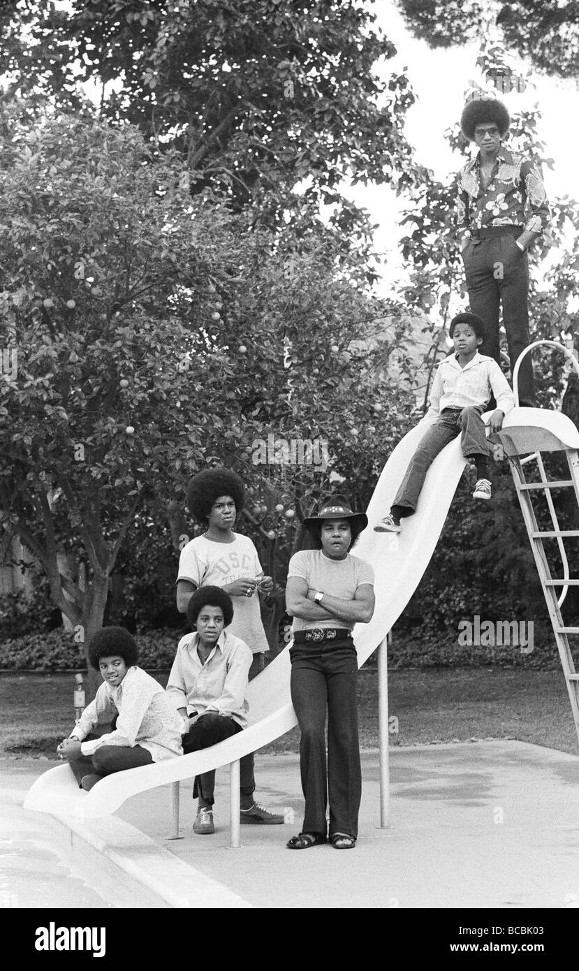 The Jackson Five at home in Los Angeles 23rd February 1973 Local Caption Tito Jackie Jermaine Marlon Michael - Stock Image