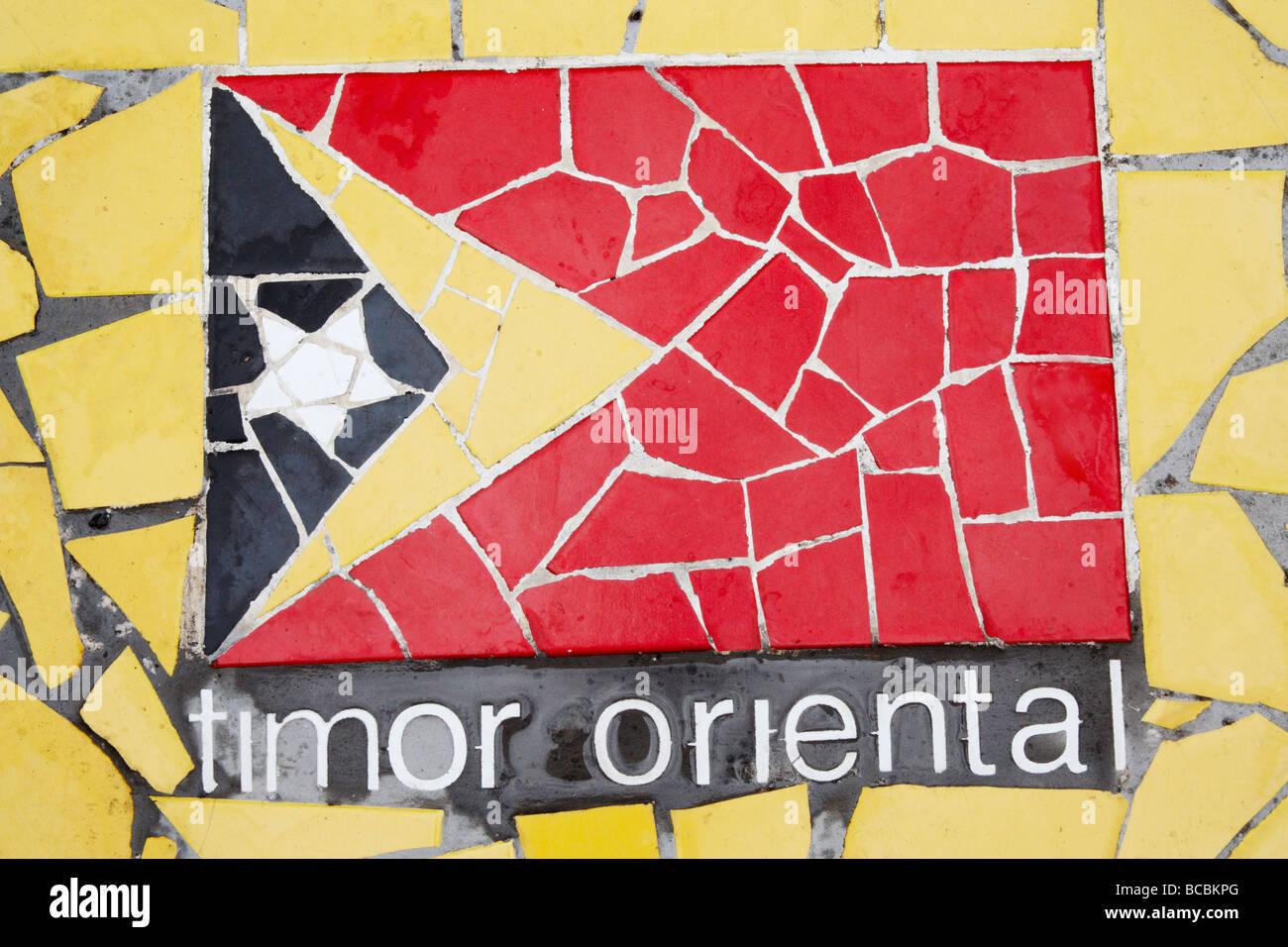East Timor mosaic flag. - Stock Image