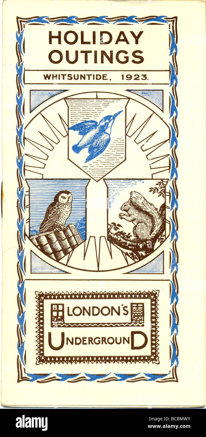 Leaflet for Whitsuntide Holiday Outings published by London's Underground 1923 - Stock Image
