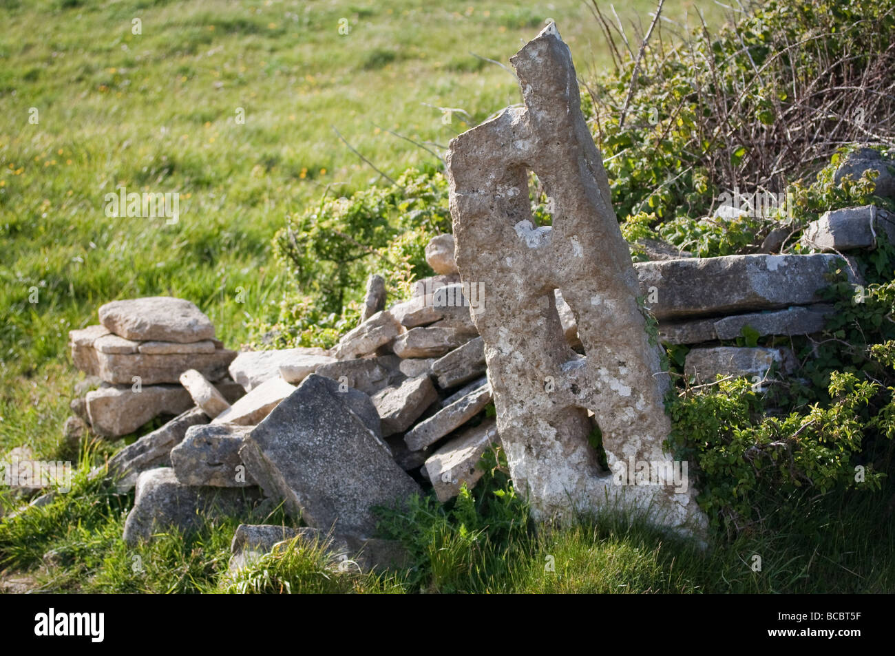 Abandoned stone gatepost in a Dorset field - Stock Image