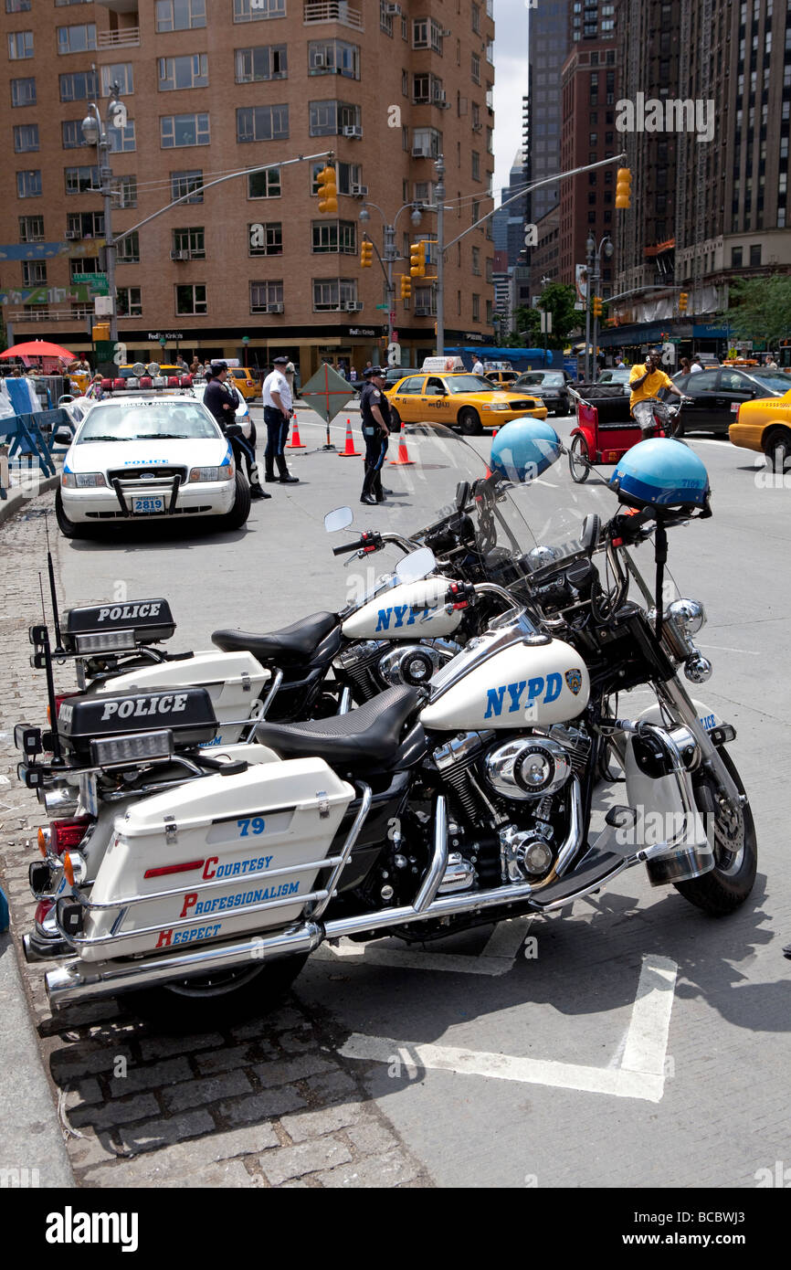 NYPD motorcycles in NYC - Stock Image