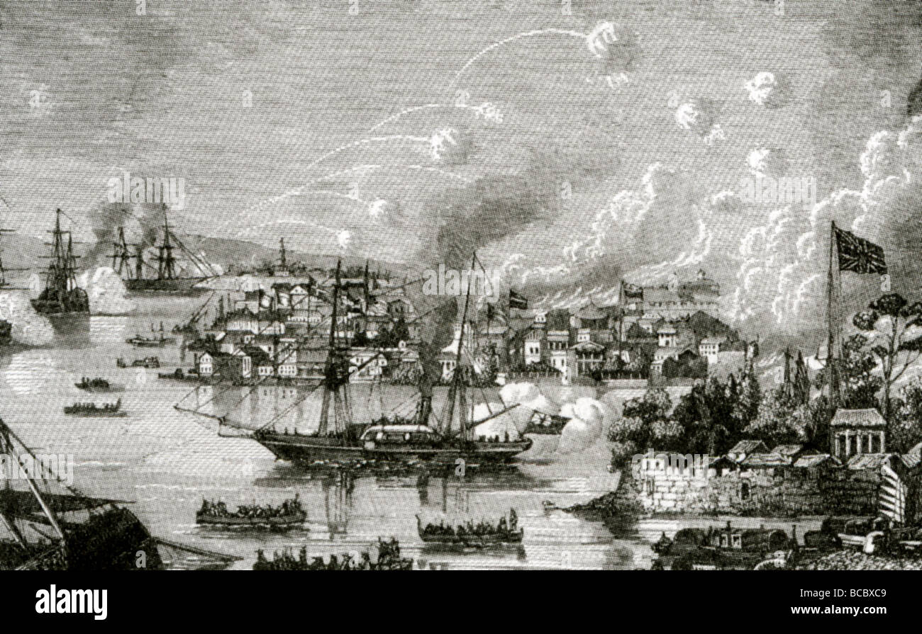 THE FIRST OPIUM WAR 1839 - 1842 - contemporary engraving shows the British  Navy assaulting a Chinese port