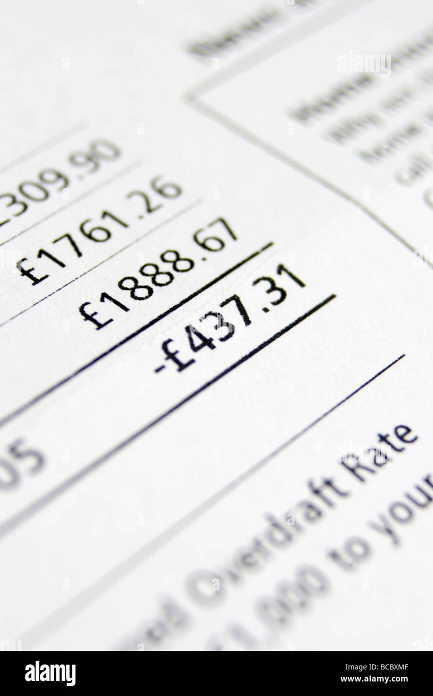 A bank statement showing overdraft Stock Photo: 24848671 ...