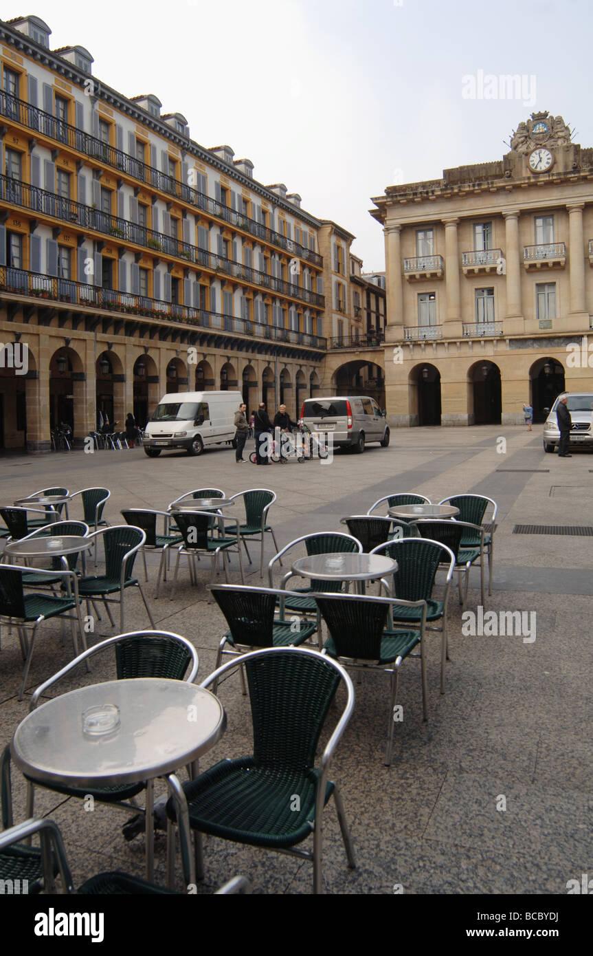 Empty courtyard cafe espresso bar in San Sebastian Spain Stock Photo