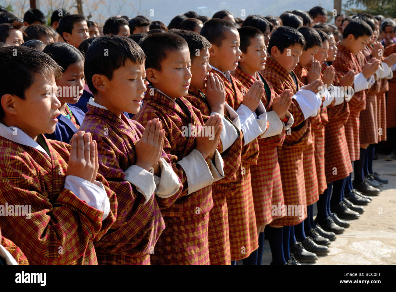 Bhutan, Thimphu, Zilukha junior High school, morning prayer - Stock Image