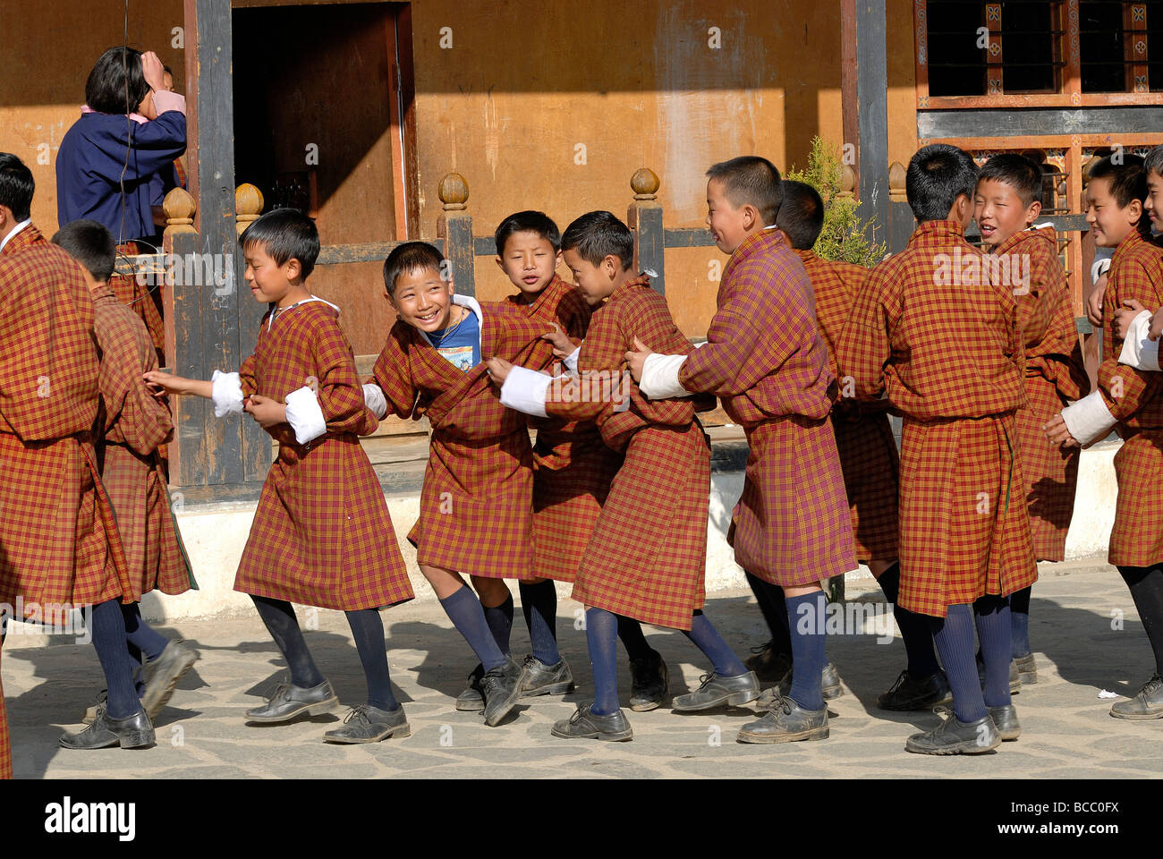 Bhutan, Thimphu, Zilukha junior High school - Stock Image
