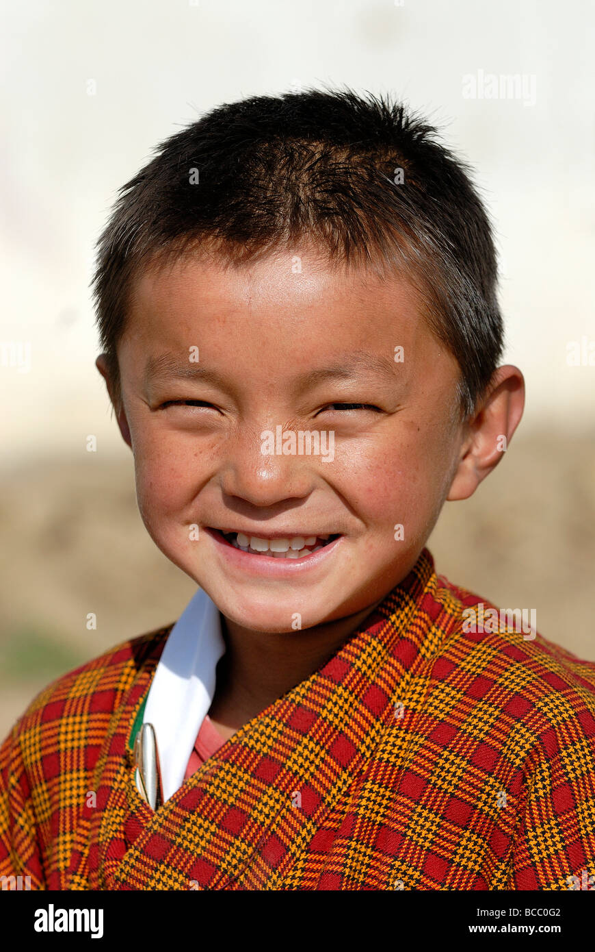 Bhutan, Thimphu, Zilukha junior High school, schoolboy - Stock Image