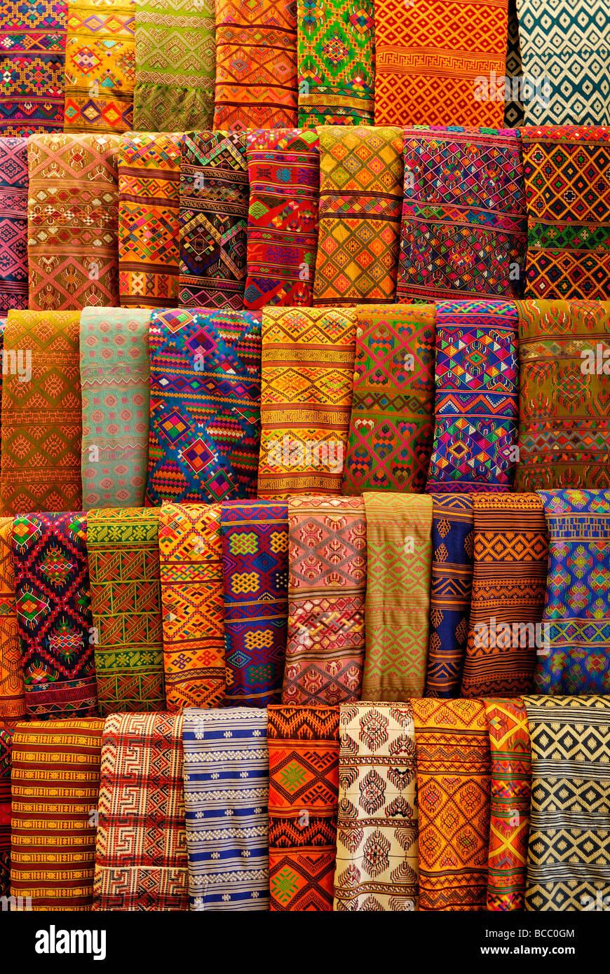 Bhutan, Thimphu, handicrafts emporium, traditional Bhutanese textiles - Stock Image