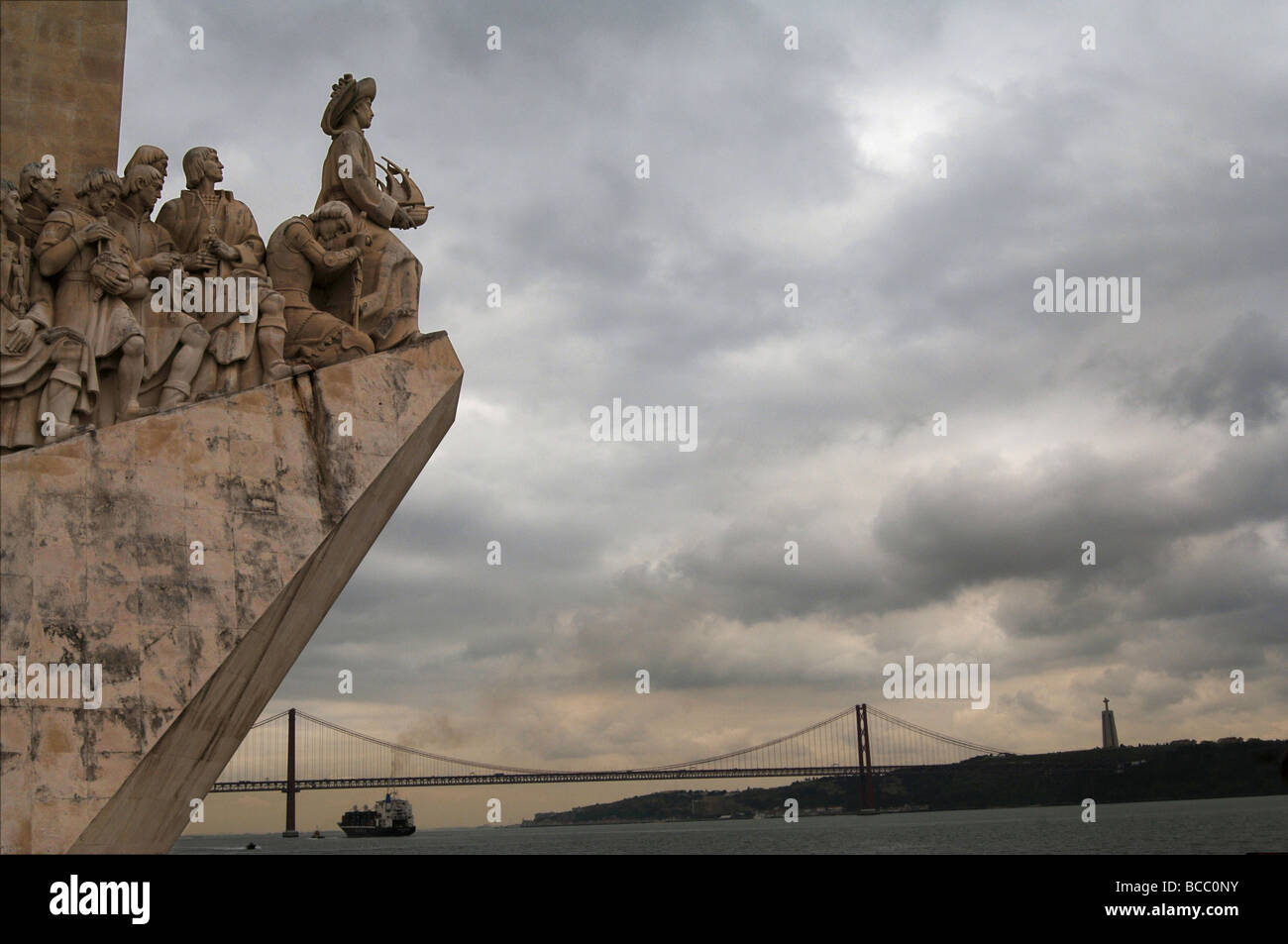 Statue commemorating new world explorers in Lisbon Portugal - Stock Image