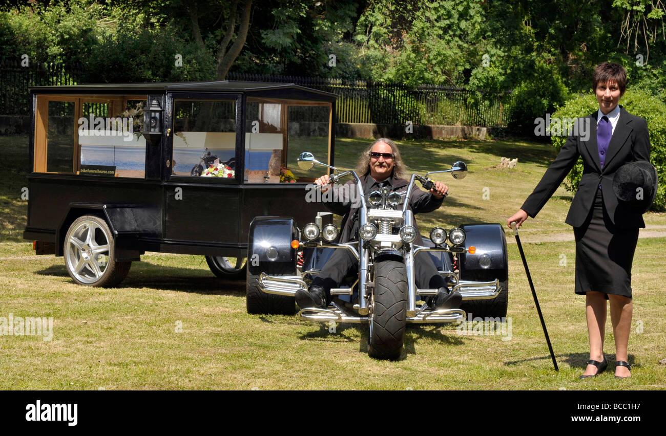 Motorcycle hearse, motorbike hearse, trike, UK - Stock Image