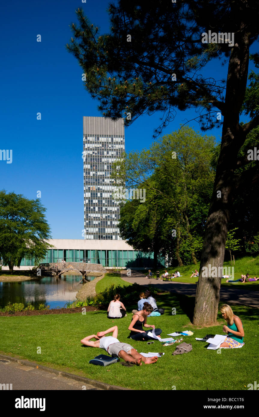 Crowds of people enjoying the hot weather in Western Park,Sheffield ,South Yorkshire ,England UK - Stock Image