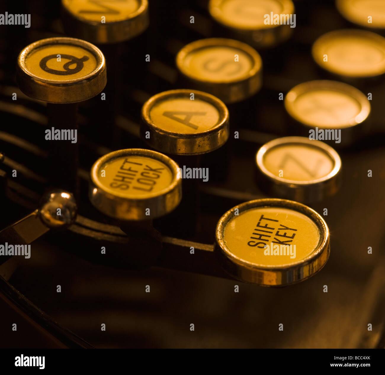 Closeup of Shift Lock and Shift Key on old manual typewriter - Stock Image