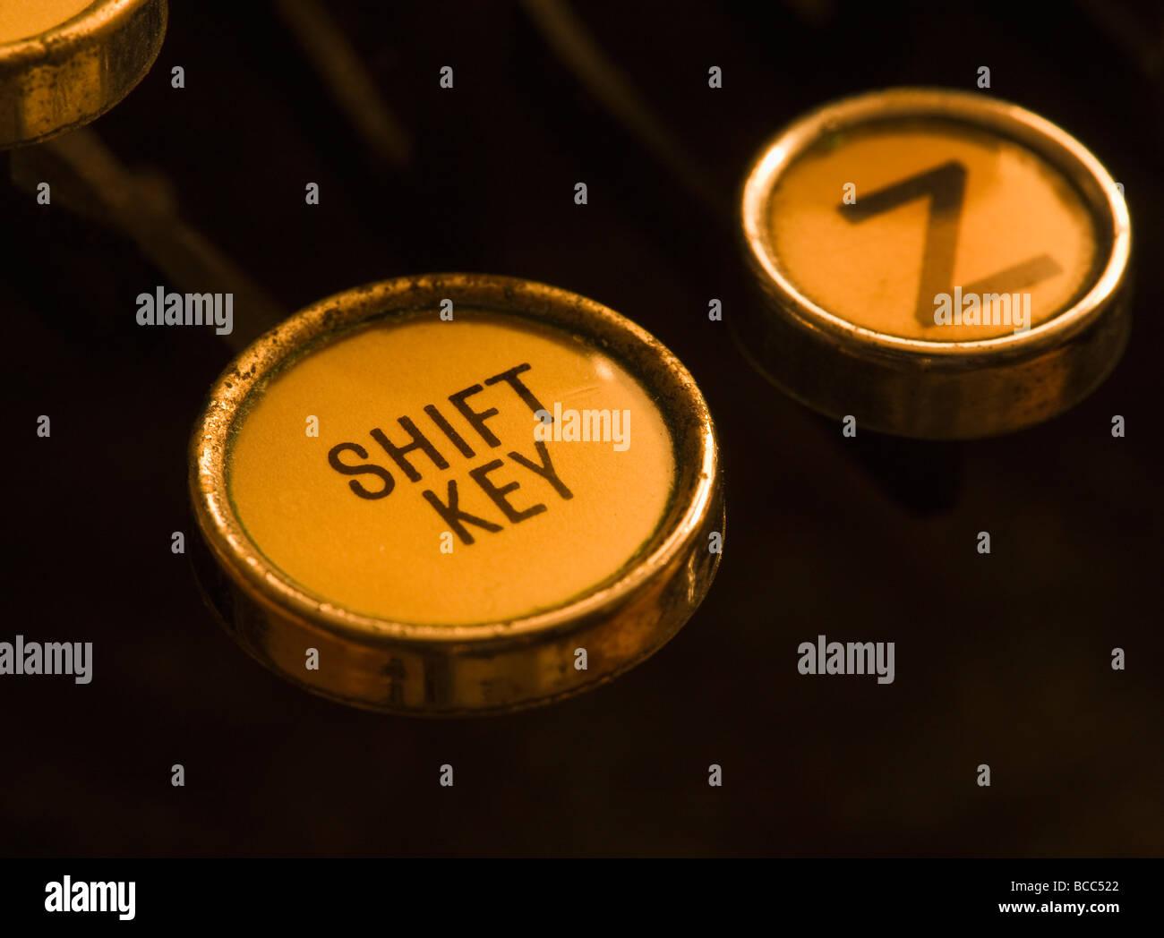 Closeup of Shift Key on old manual typewriter - Stock Image