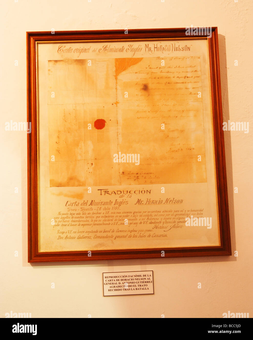 Copy of letter sent to General D. Antonio Gutierrez from Admiral Nelson after the battle of Santa Cruz on Tenerife Stock Photo