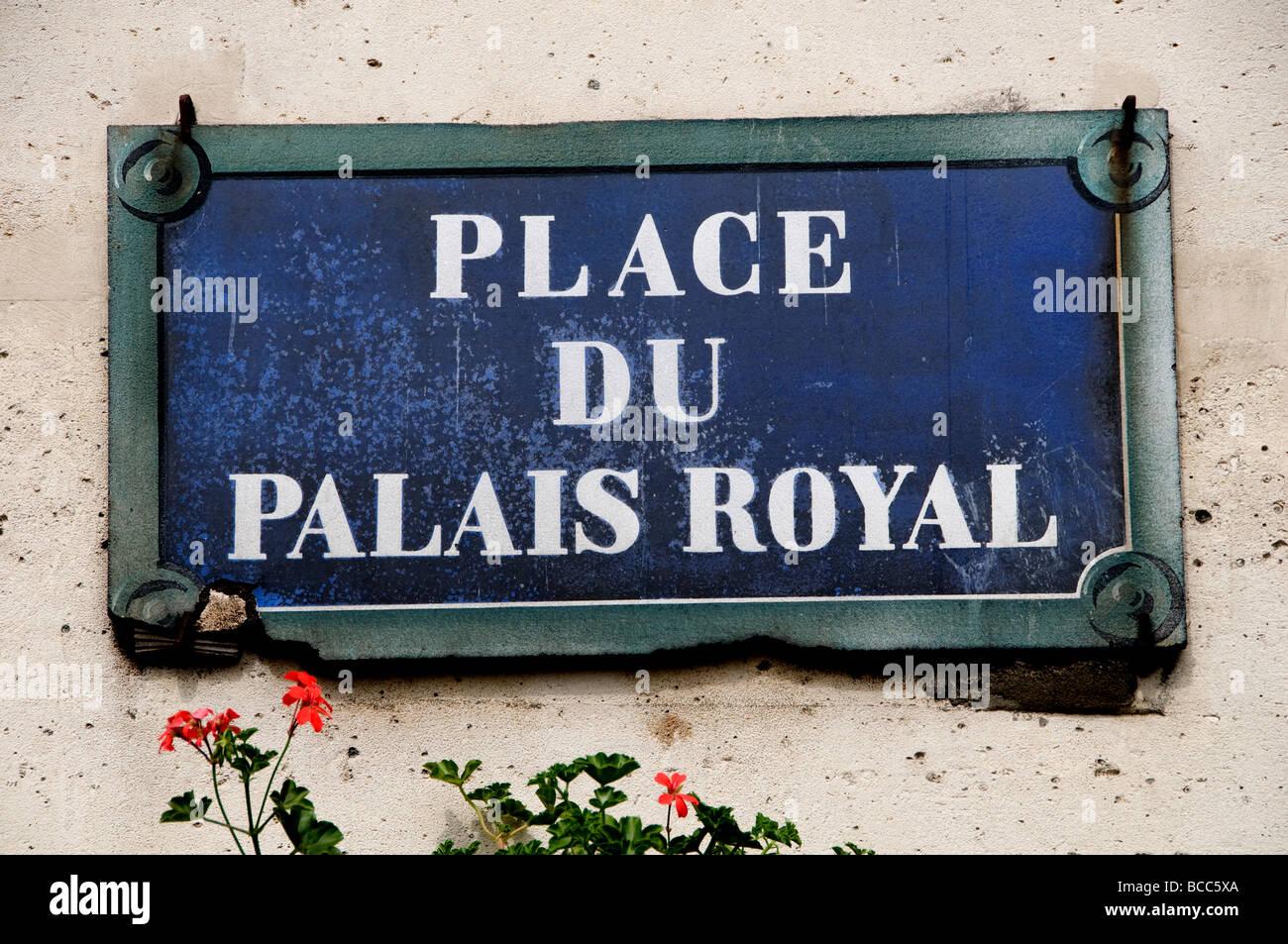 Place du Palais Royal Paris France Street Sign French City Town - Stock Image