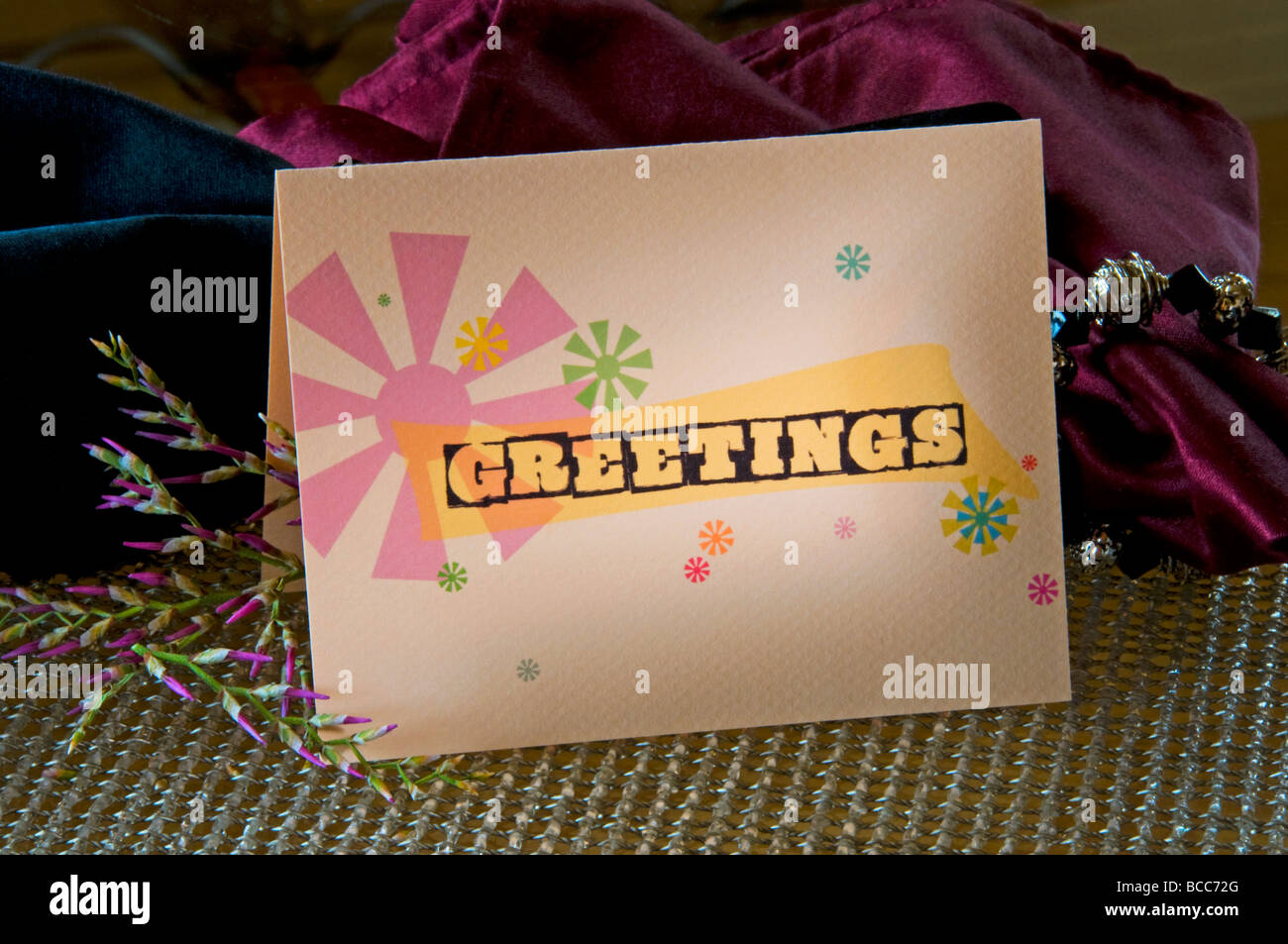 Folded paper greeting card invitations - Stock Image
