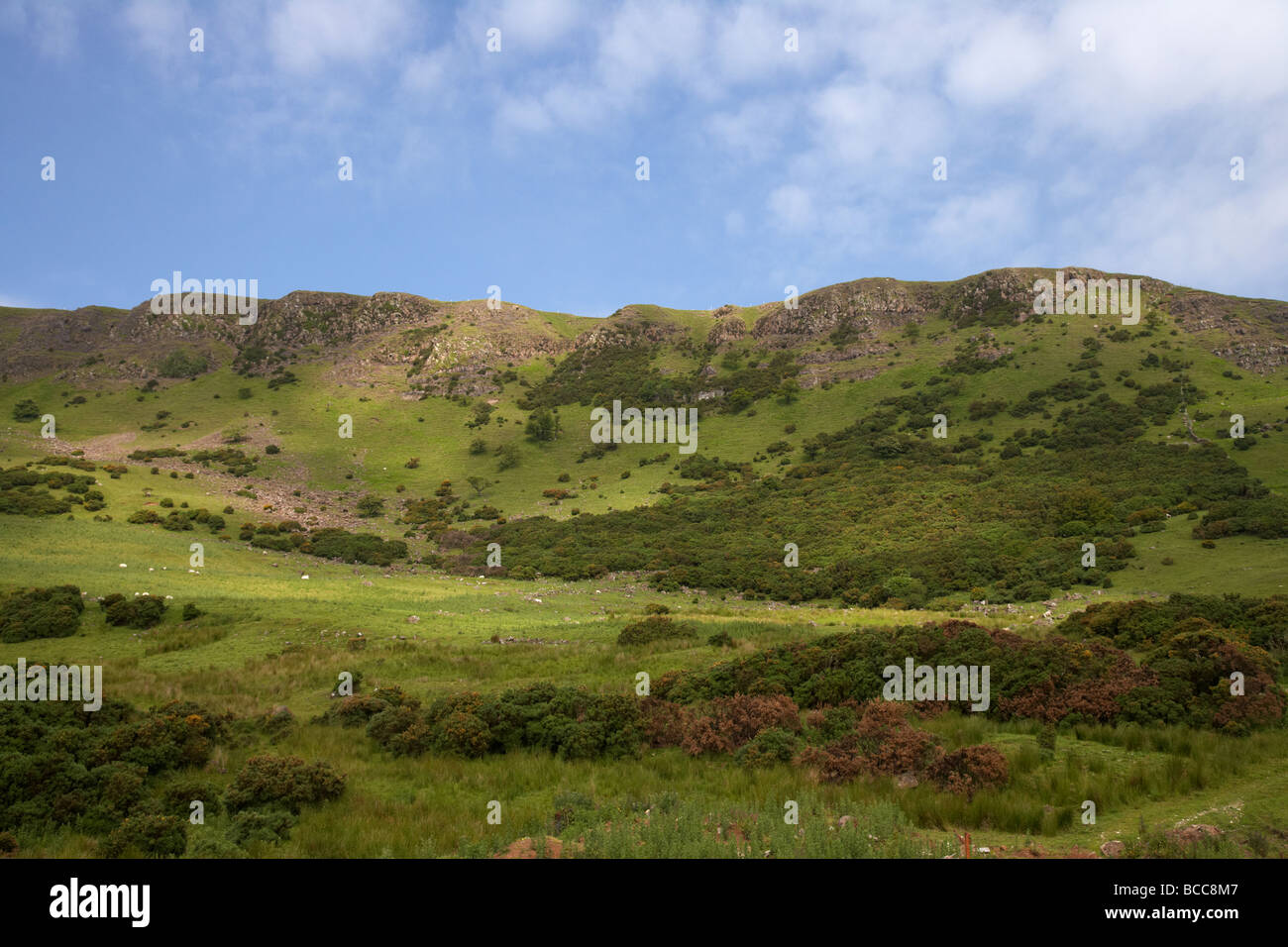 Sallagh braes hills near larne a natural basalt amphitheatre and walking route county antrim northern ireland uk - Stock Image