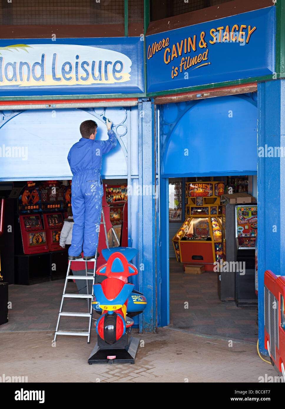 Maintenance on amusement arcade where Gavin and Stacey is filmed Barry island Wales UK - Stock Image