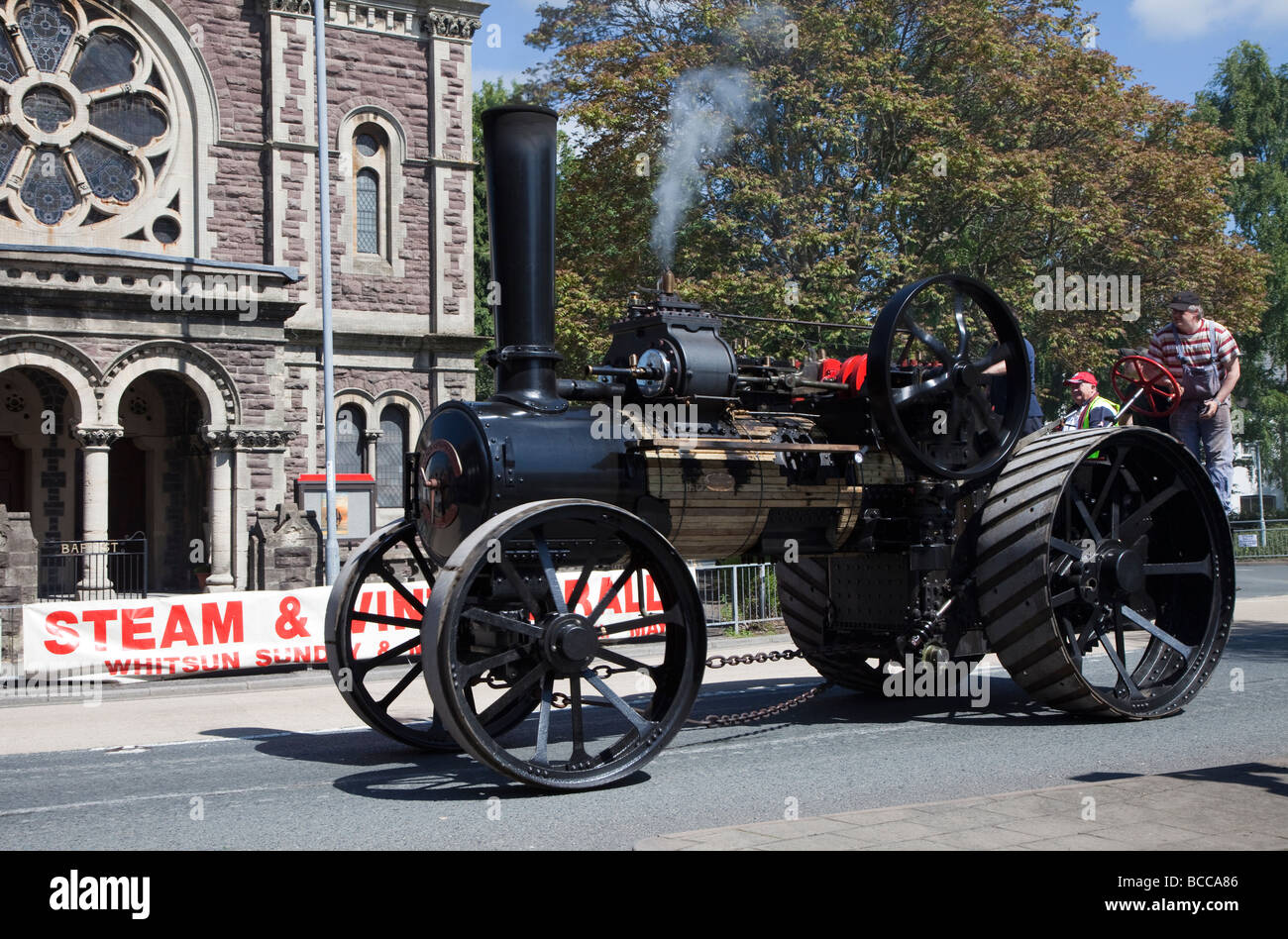 Traction engine in street parade Steam Fair Abergavenny Wales UK - Stock Image
