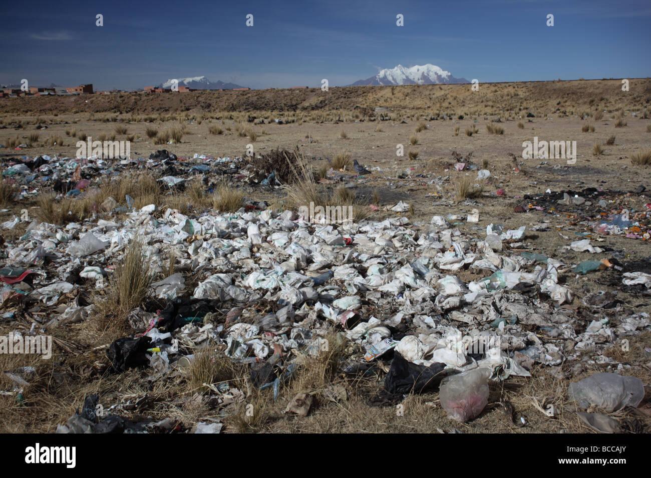 Waste disposable nappies, Mt Illimani in background, Viacha, near La Paz, Bolivia - Stock Image
