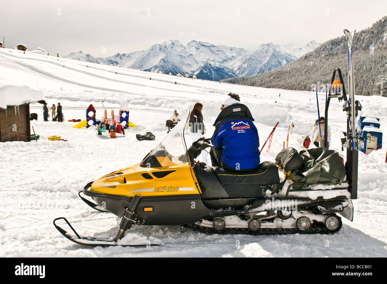 Snowmobile Torgnon Aosta Italy Stock Photo