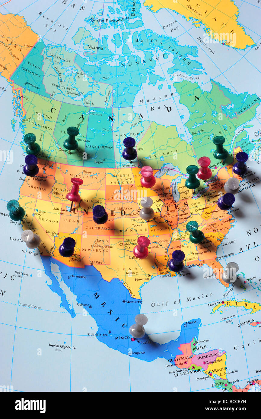map pins in north america map stock photo 24859061 alamy