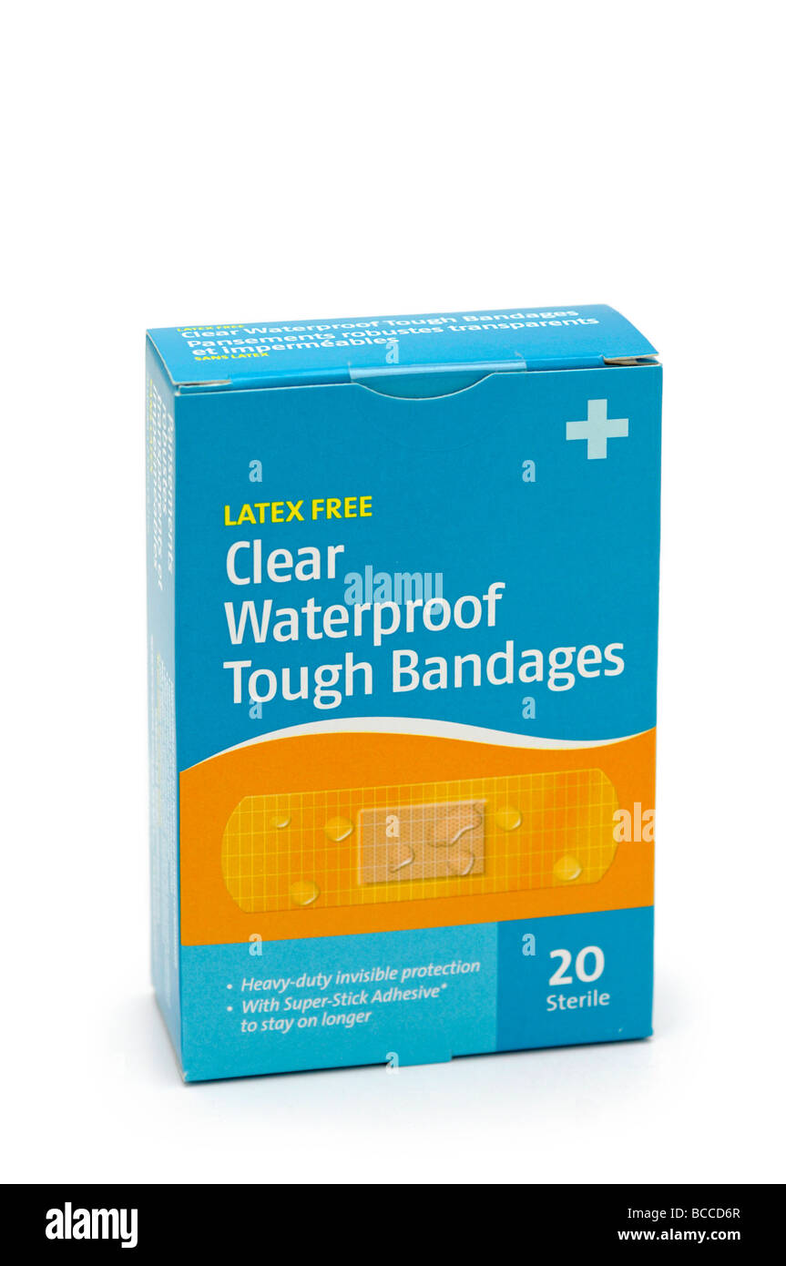 Box of Waterproof Bandages / bandaids - Stock Image