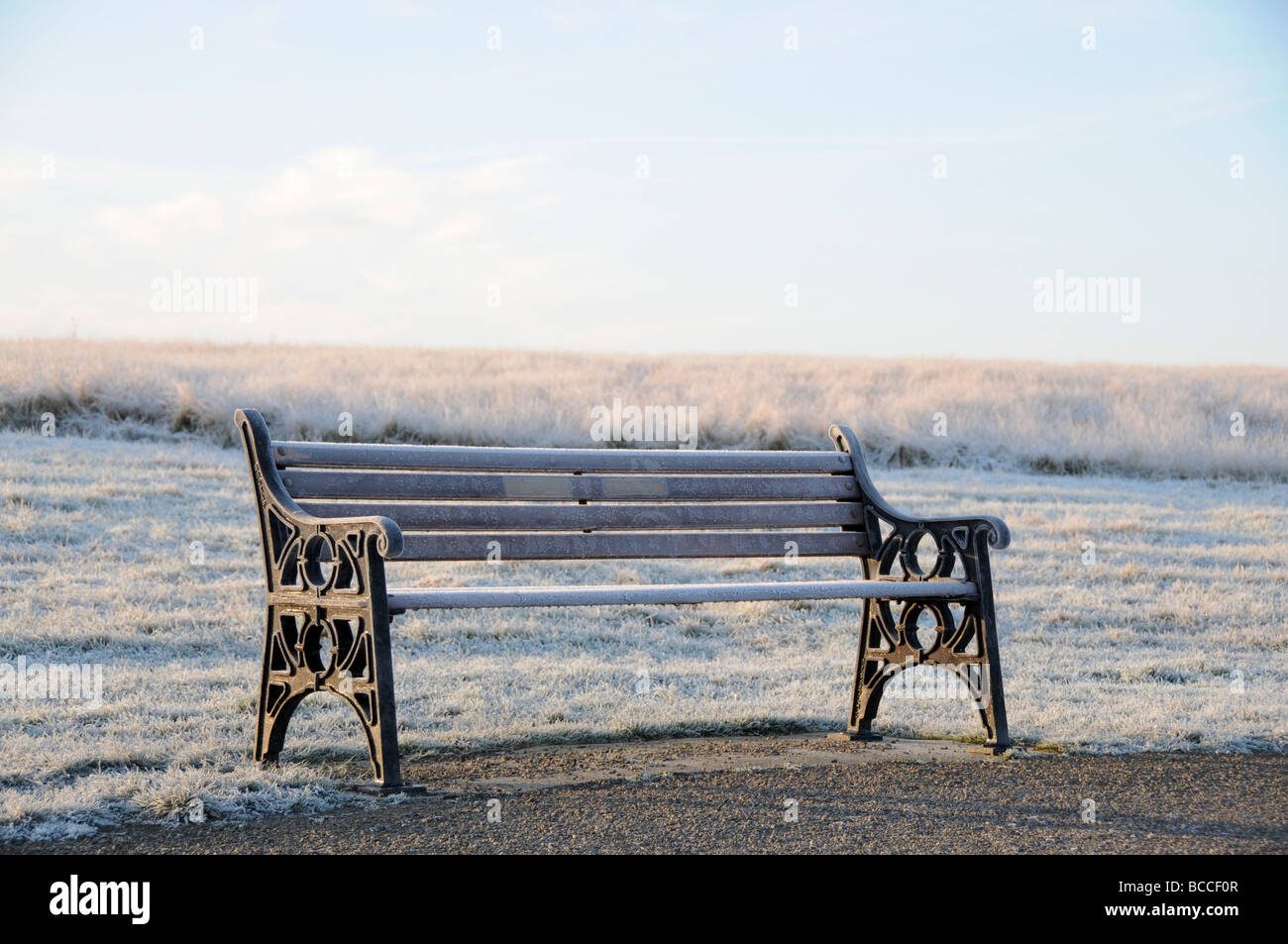 frost covered bench scene, England - Stock Image