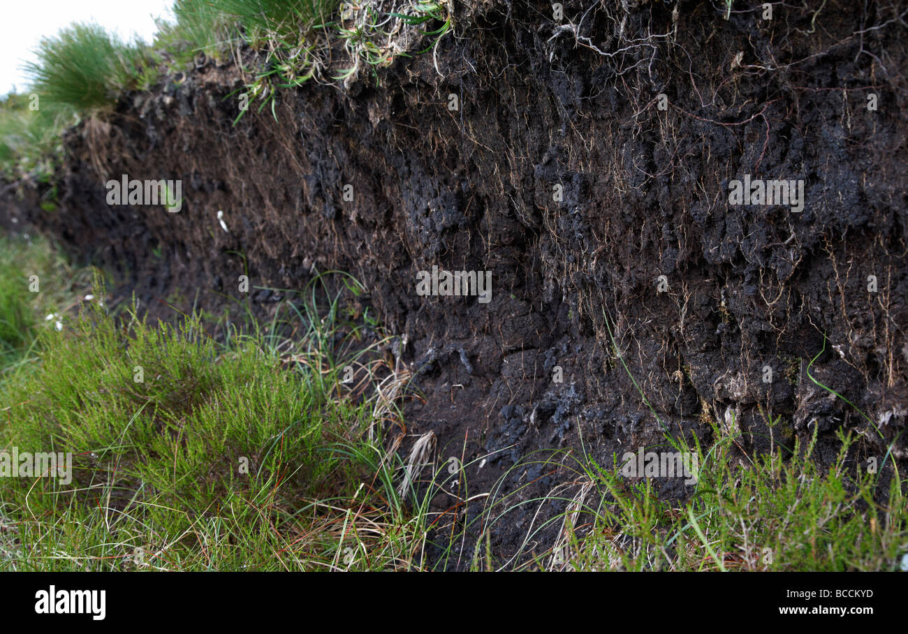 seam of peat bog on a mountain blanket bog in ireland county antrim northern ireland uk - Stock Image