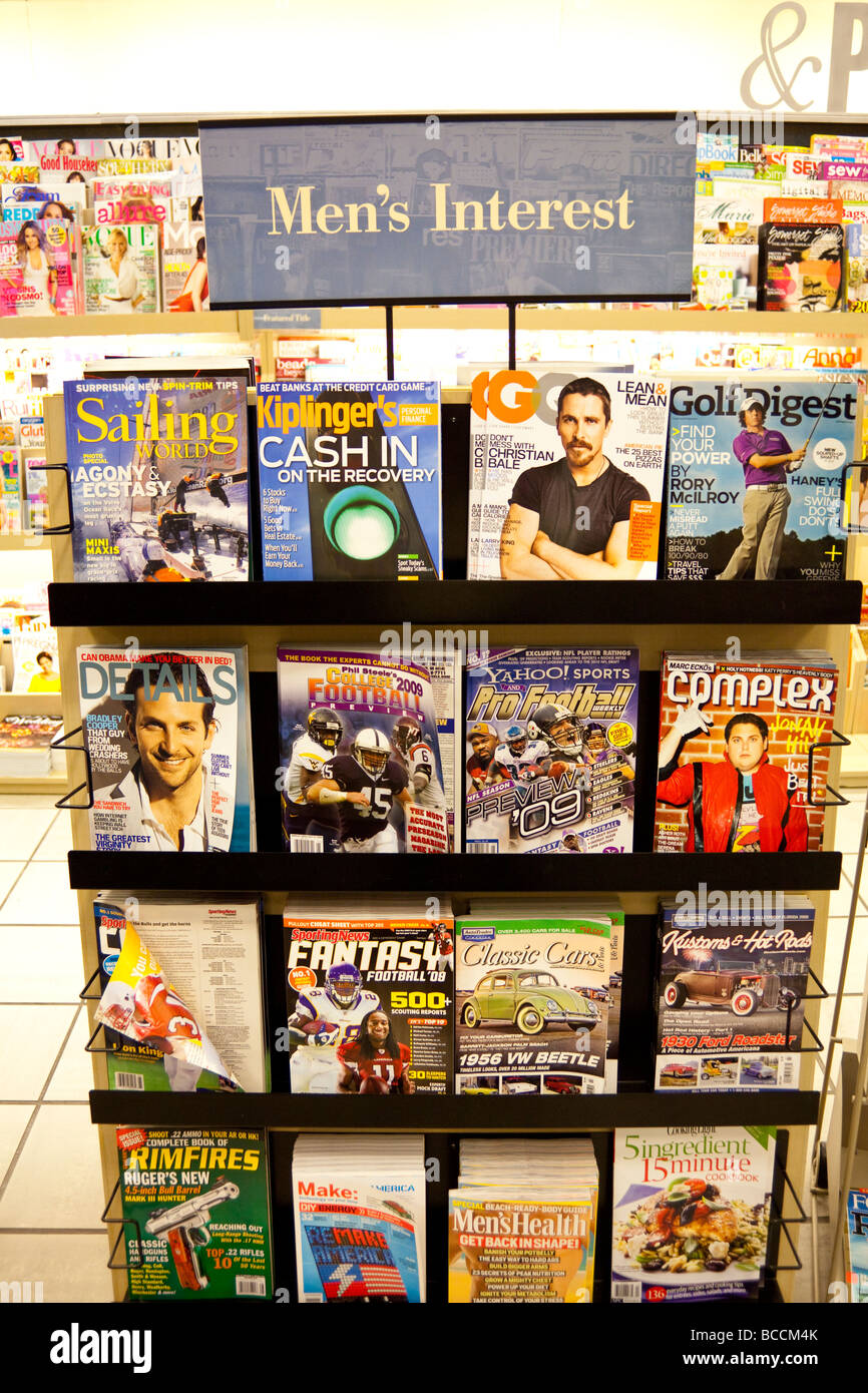 men's interest magazines on shelves, Barnes and Noble, USA - Stock Image