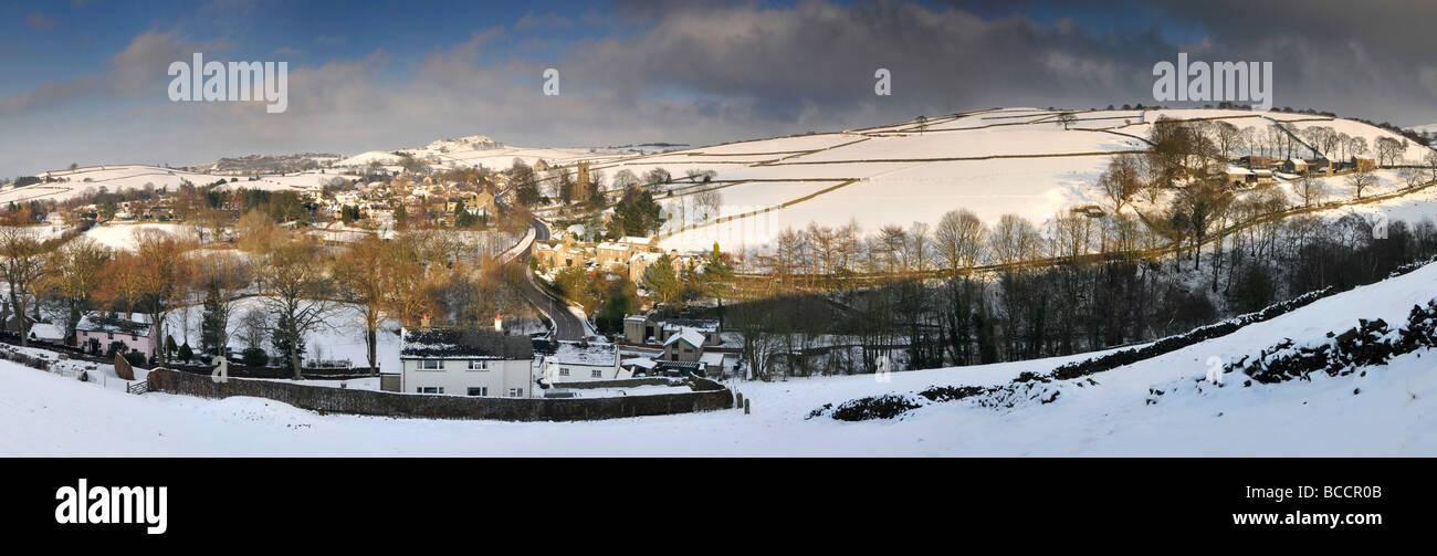 Panoramic View of the Peak District Village of Rainow in Winter, Cheshire, England, UK - Stock Image