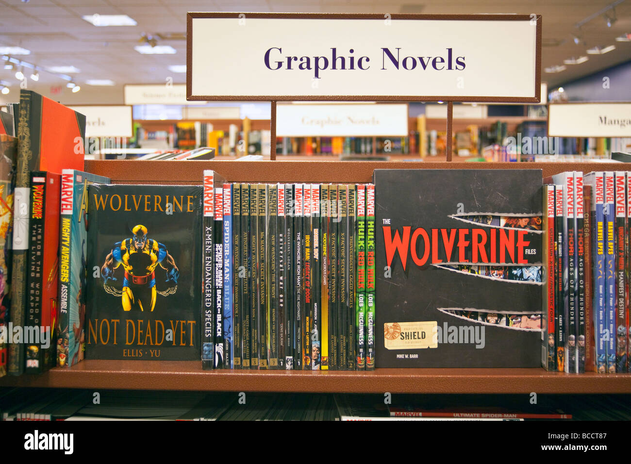 graphic novels on shelves, Chapters Bookstore, Coquitlam, BC, Canada - Stock Image