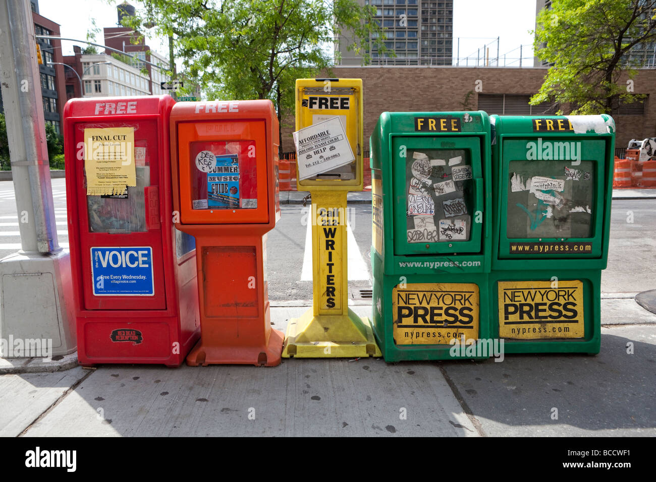 Free newspaper stands in NYC - Stock Image