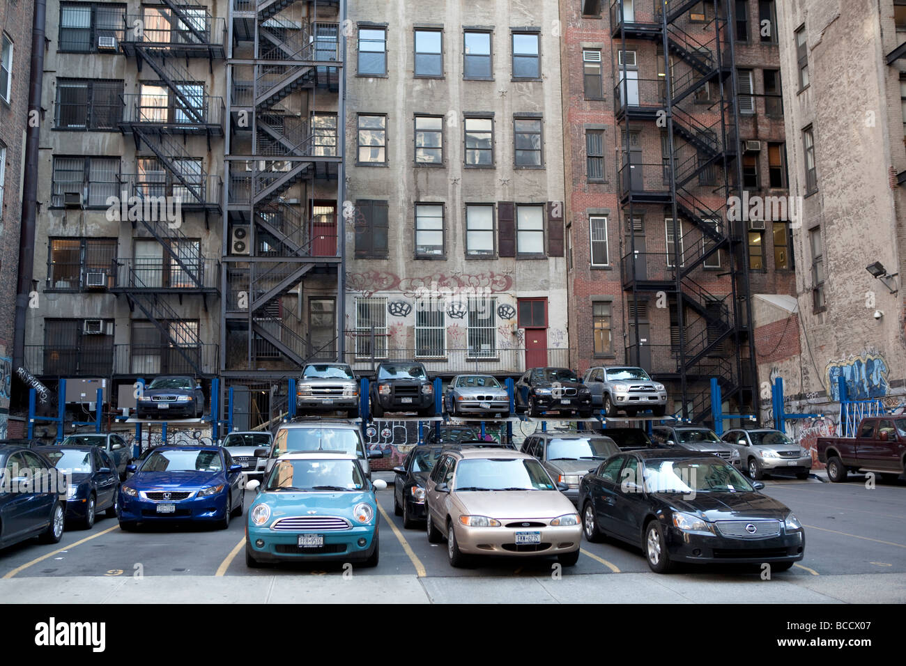 Parking lot in NYC - Stock Image
