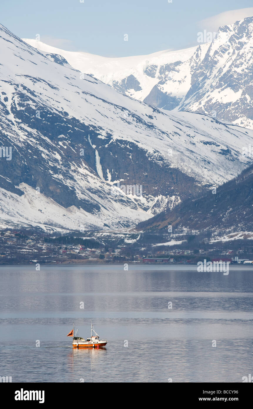 Small Norwegian fishing vessel at Storfjord Skibotn Norway - Stock Image