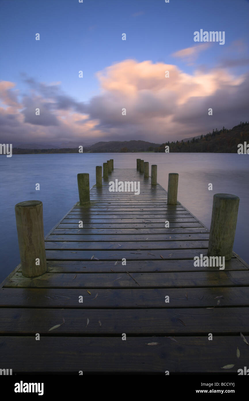 Wooden jetty at dawn on Lake Windermere. Lake District National Park. Cumbria. UK - Stock Image