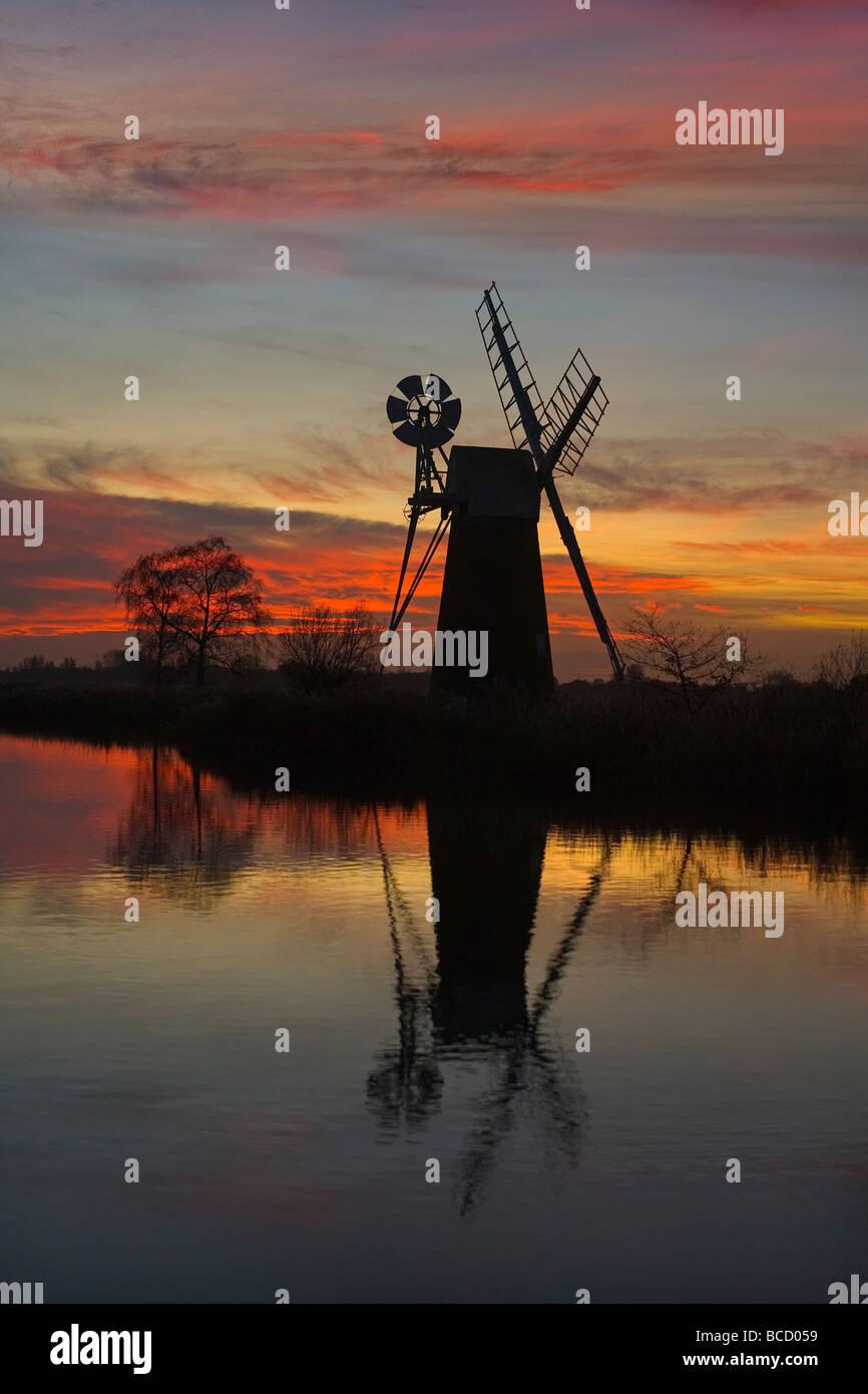 Turf Fen Mill. River Ant. Norfolk Broads. Winter UK Stock Photo