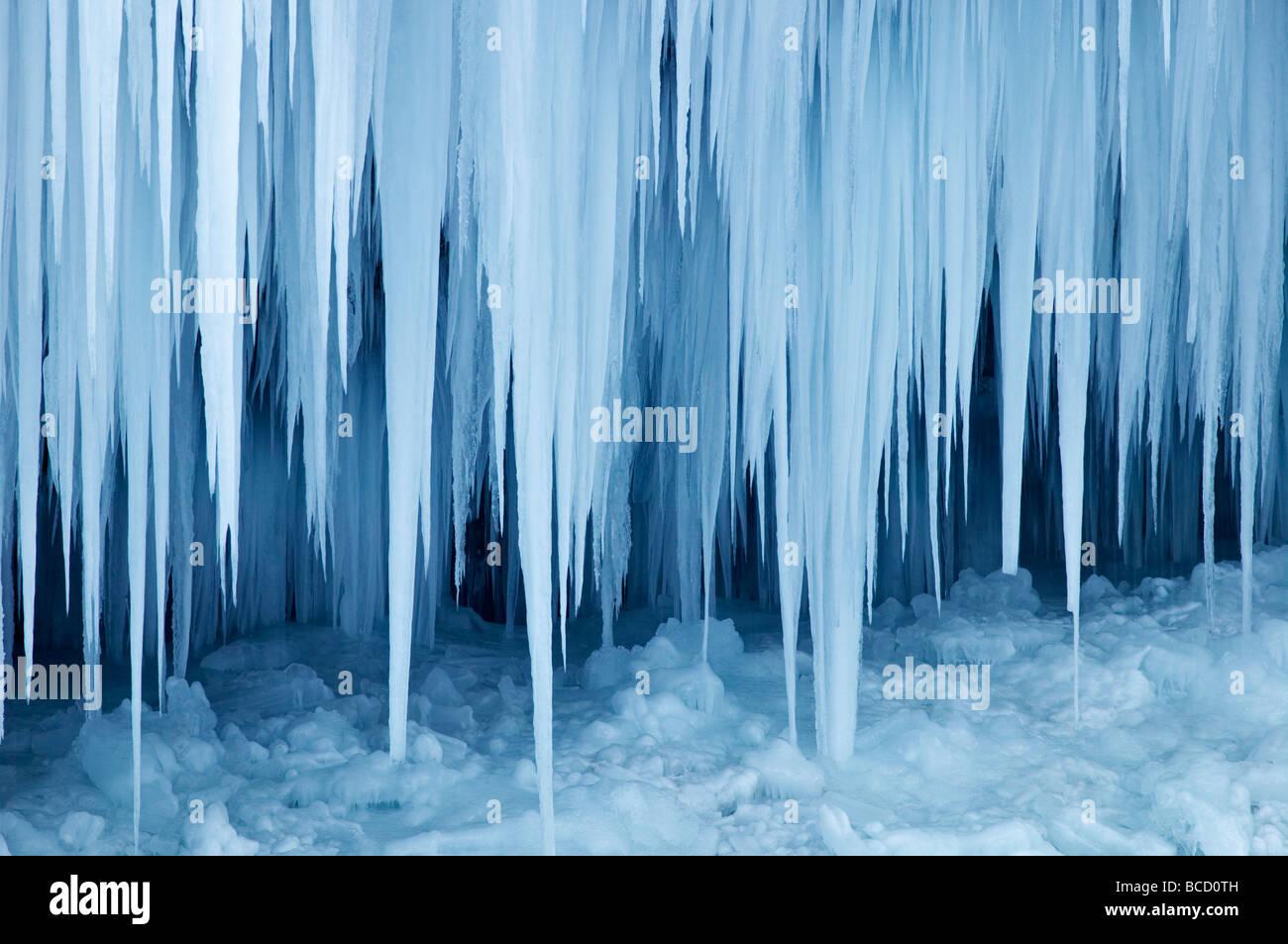 SLAP PERICNIK. huge icicles on waterfall frozen in winter. Triglav National Park. Julian Alps. Gorenjska. Slovenia - Stock Image
