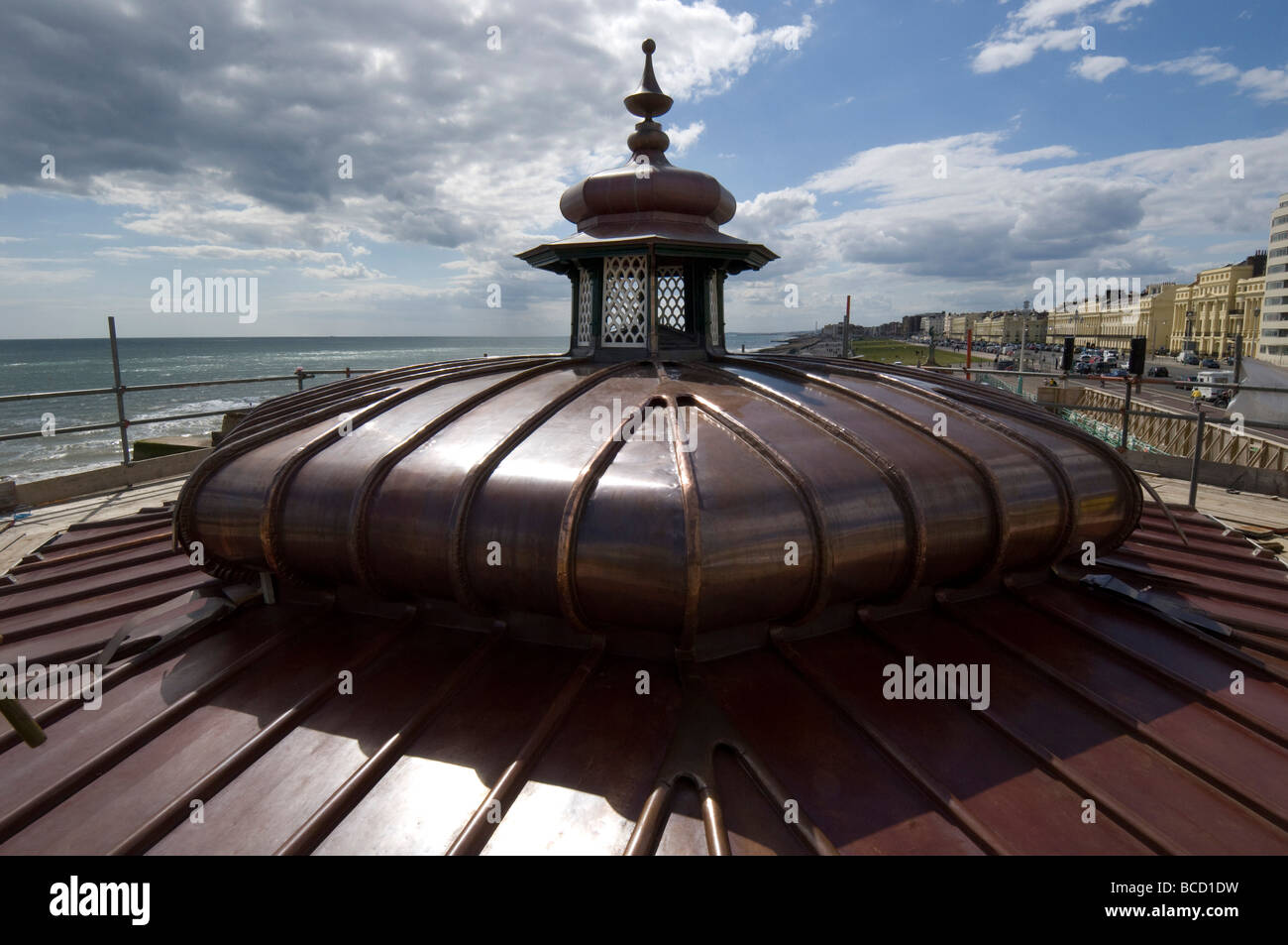 The new copper roof of a Victorian bandstand on Brighton and Hove seafront - Stock Image