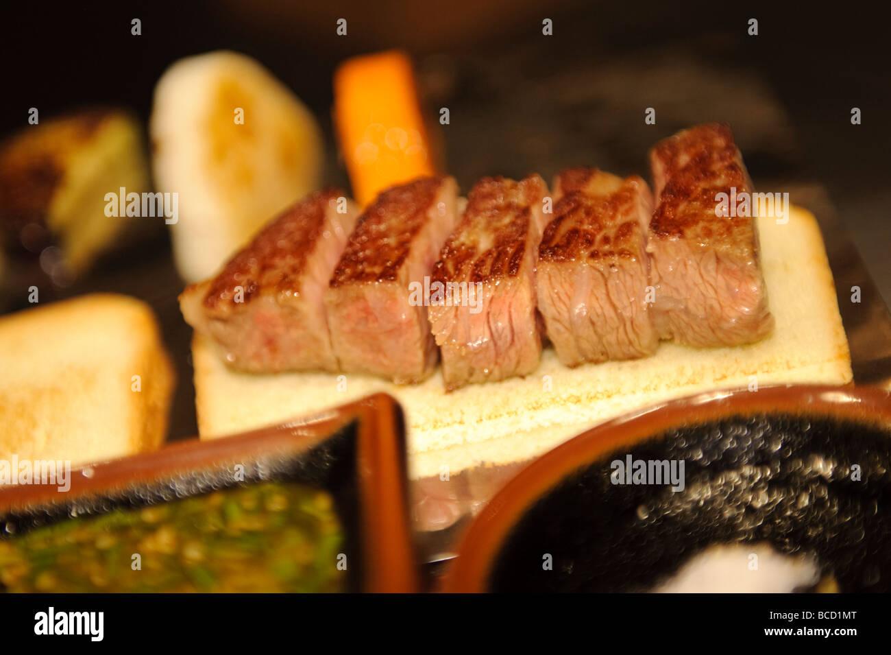 Kobe beef steak Kobe Beef Bifteck Kawamura restaurant, Kobe city, Hyogo Prefecture, Japan, June 25 2009. - Stock Image