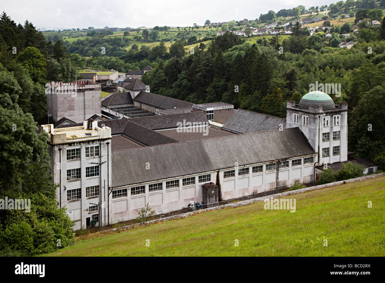 Water works pumping treatment station Pontsticill reservoir Brecon Beacons national park Wales UK - Stock Image
