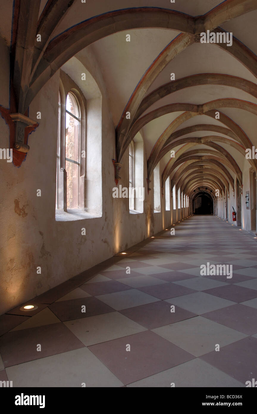 Cloisters in the Chartreuse Museum, Molsheim, Alsace, France - Stock Image