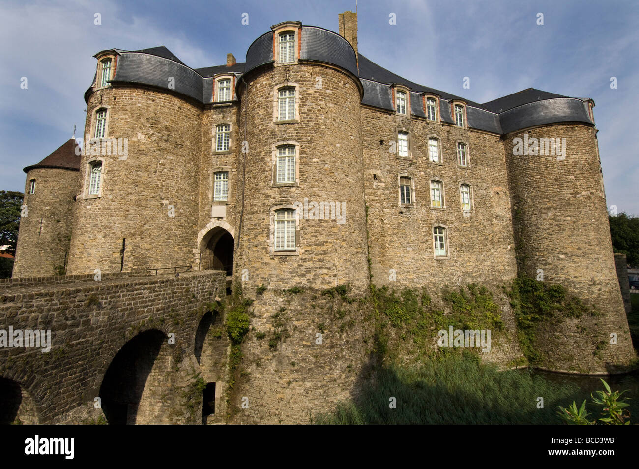 Boulogne Castle showing the moat in the old town of Boulogne Northern France - Stock Image