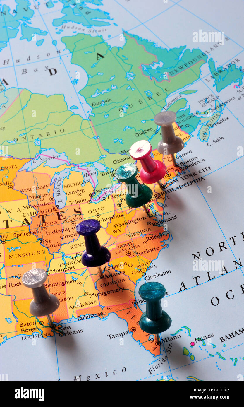 Map Of States And Canada.Map Pins In Eastern United States Canada Stock Photo 24874698 Alamy