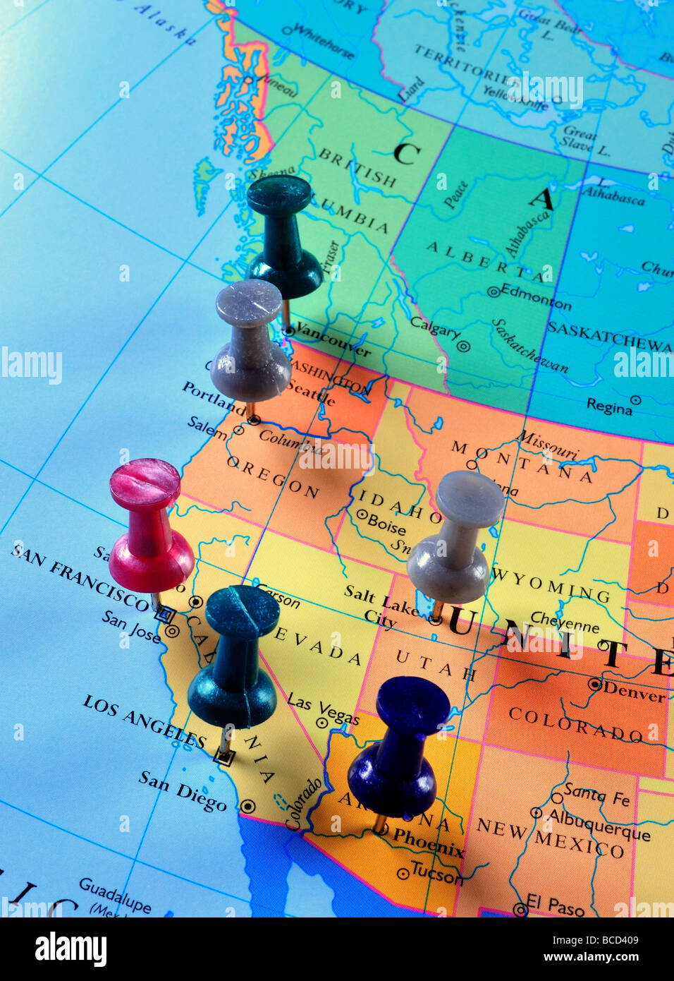 Map Of Western Us And Canada Map pins in Western United States & Canada Stock Photo   Alamy