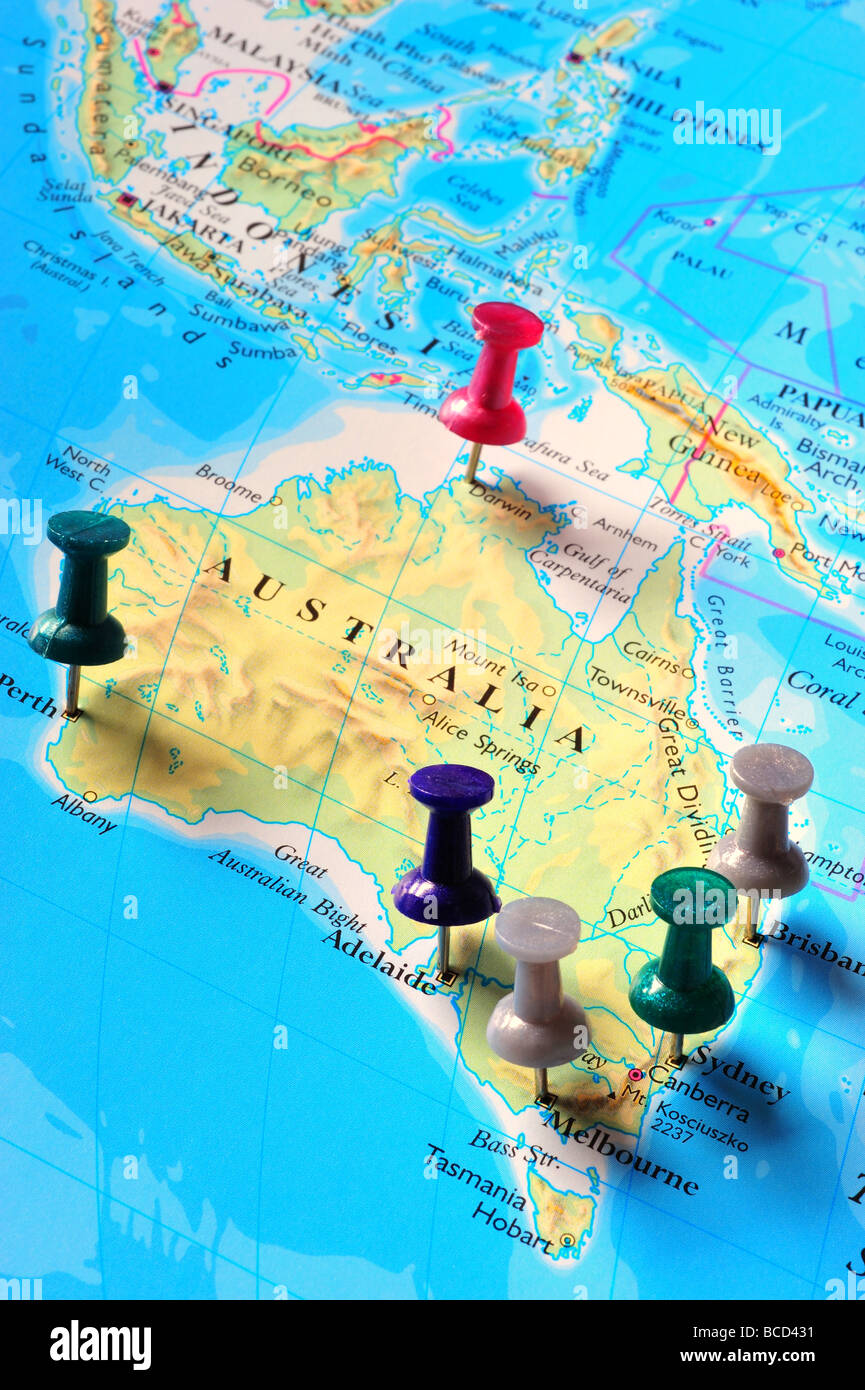 map pins in australia map stock photo 24874837 alamy