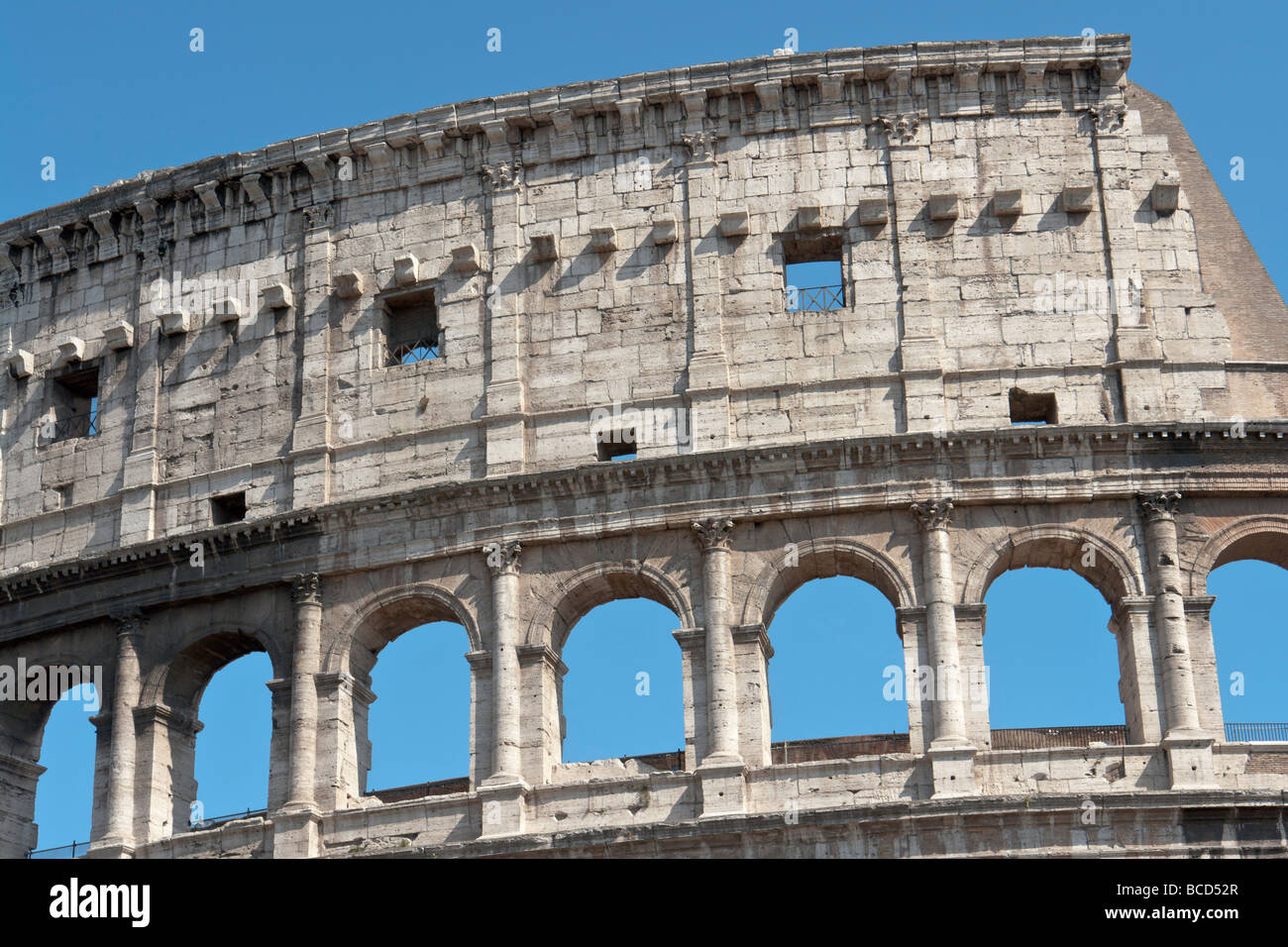 Rome, Italy. Detail of the Colosseum Stock Photo