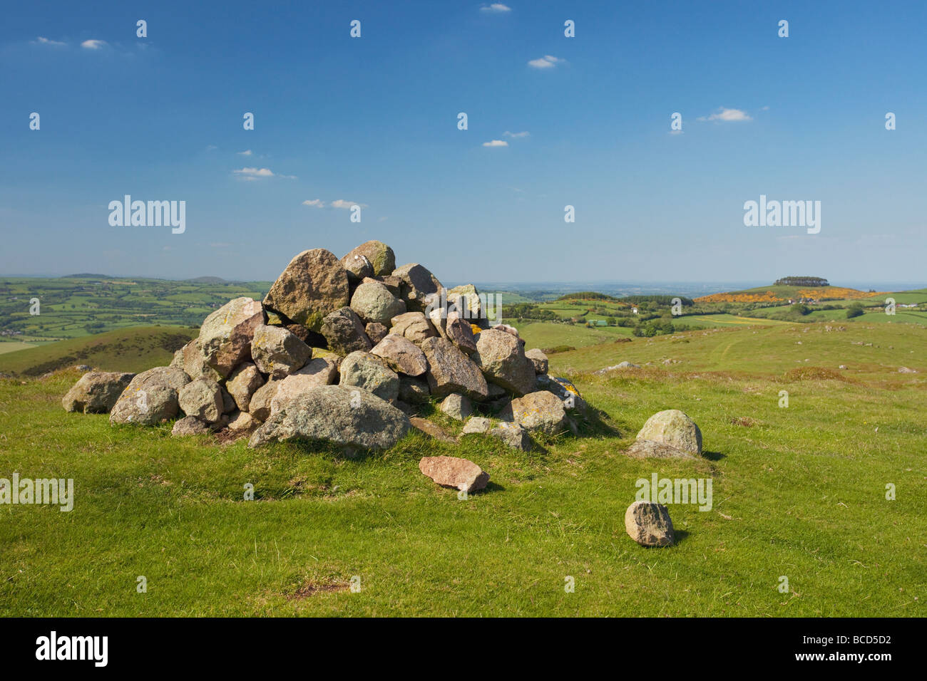 Shropshire Hills Brownlow Callow from Mitchell's Mitchells Fold Bishops Castle England UK United Kingdom GB - Stock Image