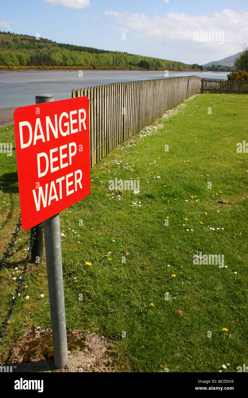 'Danger Deep Water' sign by Victoria Lock, Newry Canal, Ireland - Stock Image