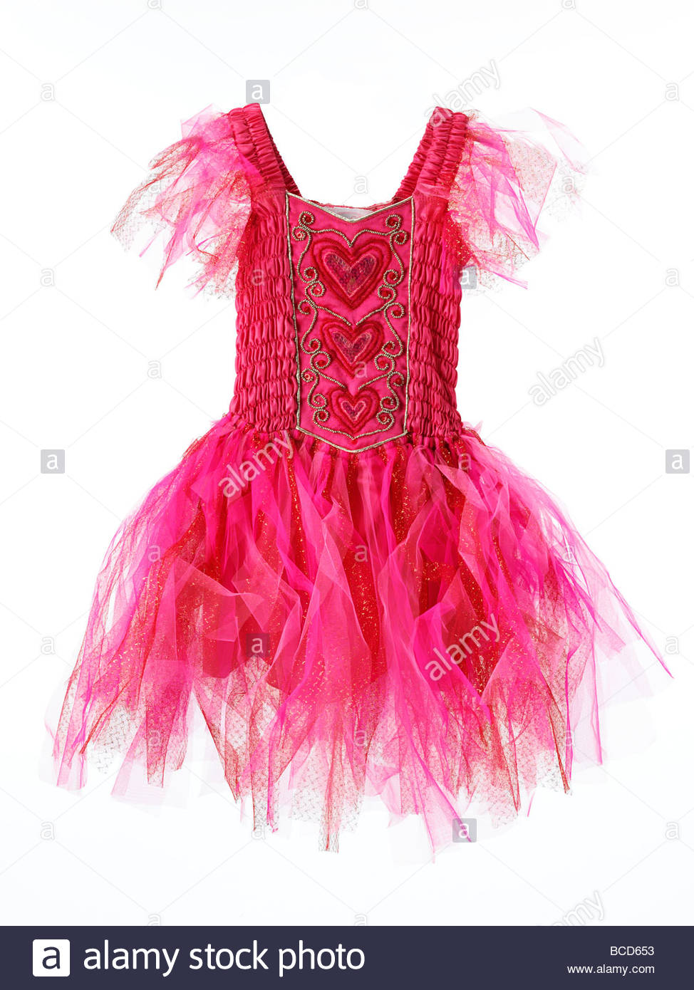 a girl's dressing up fairytale fairy princess dress isolated on a white background - Stock Image
